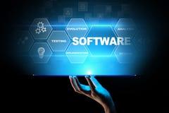 Automation för programvaruutveckling och affärsprocess, internet och teknologibegrepp på den faktiska skärmen stock illustrationer