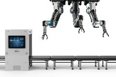 Automation factory concept. With 3d rendering robot assembly line with empty conveyor belt