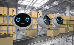 Automation factoty concept. Automatic warehouse concept with 3d rendering automation robot work in warehouse