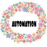 AUTOMATION in floral frame. Royalty Free Stock Images
