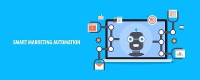 Automation futée de vente - visage de robot sur un écran d'ordinateur portable, programme automatisé faisant le marketing de site illustration stock