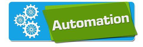 Automation Green Blue Rotated Squares stock illustration