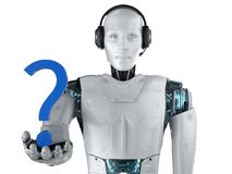 Automation helpline concept. With 3d rendering humanoid robot with question mark