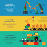 Automation horizontal banners set with assembly line and robotic loaders.  Royalty Free Stock Photography