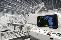 Automation industry concept. Automation industry with 3d rendering monitor screen with robotic arms Stock Images