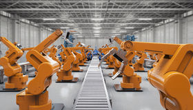Automation industry concept. With 3d rendering robotic arms with conveyor lines Royalty Free Stock Images