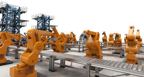 Automation industry concept. With 3d rendering robotic arms with conveyor lines Royalty Free Stock Photos