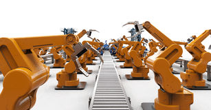 Automation industry concept. With 3d rendering robotic arms with conveyor lines Stock Photos
