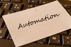 Automation - note on keyboard in the office royalty free stock photography