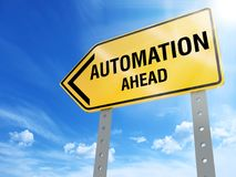 Automation sign. Automation ahead sign on blue sky background,3d rendered Royalty Free Stock Image