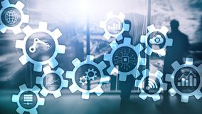 Automation technology and smart industry concept on blurred abstract background. Gears and icons.  stock photography