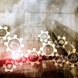 Automation technology and smart industry concept on blurred abstract background. Gears and icons. Automation technology and smart industry concept on blurred vector illustration
