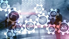 Automation technology and smart industry concept on blurred abstract background. Gears and icons. Automation technology and smart industry concept on blurred royalty free stock images