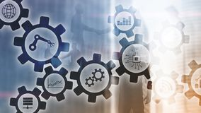 Automation technology and smart industry concept on blurred abstract background. Gears and icons. Automation technology and smart industry concept on blurred royalty free stock photos