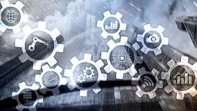 Automation technology and smart industry concept on blurred abstract background. Gears and icons.  stock illustration