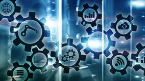 Automation technology and smart industry concept on blurred abstract background. Gears and icons.  royalty free stock photos