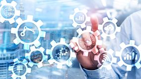 Automation technology and smart industry concept on blurred abstract background. Gears and icons.  stock images