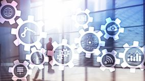 Automation technology and smart industry concept on blurred abstract background. Gears and icons. Automation technology and smart industry concept on blurred royalty free stock photo