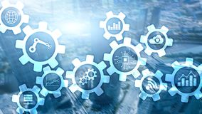 Automation technology and smart industry concept on blurred abstract background. Gears and icons. Automation technology and smart industry concept on blurred stock illustration