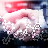 Automation technology and smart industry concept on blurred abstract background. Gears and icons. Automation technology and smart industry concept on blurred stock image