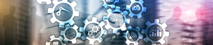 Automation technology and smart industry concept on blurred abstract background. Gears and icons. Website header banner.  stock photos