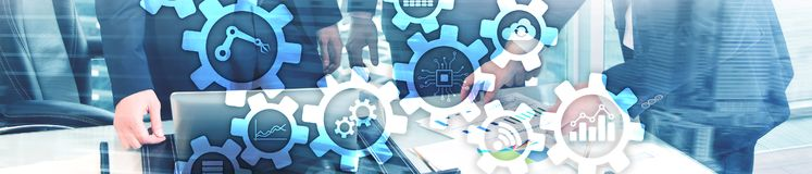 Automation technology and smart industry concept on blurred abstract background. Gears and icons. Website header banner. Automation technology and smart royalty free stock photography