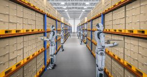 Automation warehouse concept. With 3d rendering cyborg work in warehouse