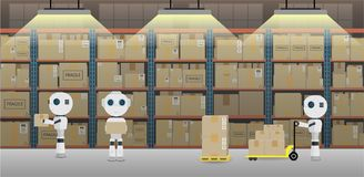 Automation warehouse concept royalty free illustration