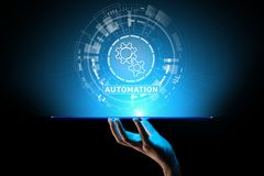 Automation Work flow business process optimisation smart industry modern manufacturing concept on virtual screen. Automation Work flow business process royalty free stock image