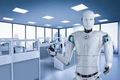 Automation worker concept. With 3d rendering robot working in office