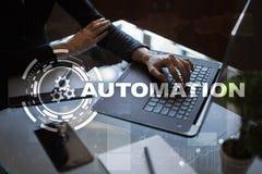 Automationbegrepp som en innovation och att förbättra produktivitet i teknologi- och affärsprocessar royaltyfri fotografi