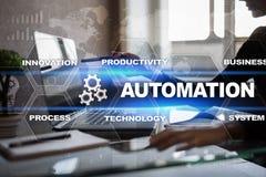 Automationbegrepp som innovation som förbättrar produktivitet i teknologiprocessar royaltyfri foto