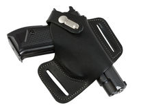 Automatisch pistool in holster zwarte kleur. Stock Fotografie