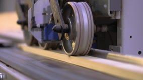 Automatische bepaling van de lengte van een houten straal, aftastend mechanisme, het mechanismeclose-up van de houtbewerkingsmach stock footage