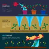 Automatische Berieselungsanlagen-Bewässerung landwirtschaft Stockfotos