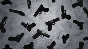 Automatische 9mm Pistolenpistole auf Zementwandhintergrund Pistolen auf Betonmauer animation Lizenzfreie Stockbilder