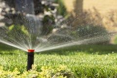 Automatische Sprinkleranlage, die den Rasen auf einem Hintergrund des grünen Grases wässert lizenzfreie stockfotos