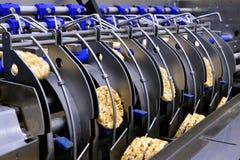 Automatisches Band des Förderers für die Produktion des nützlichen Vollkornextruderknusprigen brotes stockbild