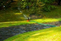 Automatisches Bewässerungssystem im Garten unter dem grünen Gras Stockfotografie