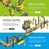 Automatiserad branschlinje Fabriks- produktion Vektorhorisontalbaner vektor illustrationer