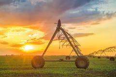 Automatiserat lantbrukbevattningsystem i solnedgång arkivbilder
