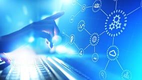 Automatisering, Industrie 4 0, IOT, Internet van dingenconcept op het virtuele scherm stock illustratie
