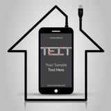 Automatisering van huisvesting, controle en controle via mobiele telefoon stock illustratie