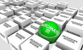 Automatisez-le contre les cubes manuels en sphère de tâches professionnelles illustration de vecteur