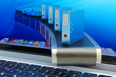 Automatisez le système de gestion de documents et le concept électroniques de processus de déroulement des opérations de bureau illustration de vecteur