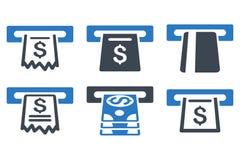Automatisierter Kassierer Flat Glyph Icons Lizenzfreie Stockbilder