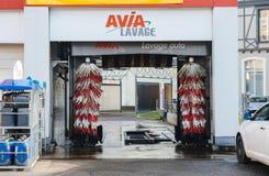 Automatisk biltvätt i Frankrike Arkivfoton