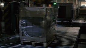 Automatisk cellofaninpackningsmaskin stock video