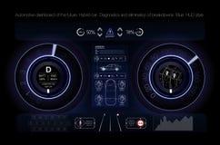 Automatisk instrumentbräda av framtiden Hybrid- bil Diagnostik och eliminering av sammanbrott _ Hud stil blå vektor för sky för o stock illustrationer