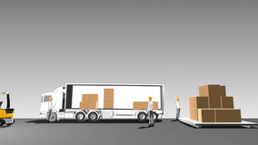 Automatisk leverans av gods på lastbilen som laddar gods, internet av sakerteknologi sikt för tecknad filmstilsida royaltyfri illustrationer